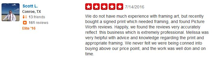 Testimonials – Picture Worth Custom Framing