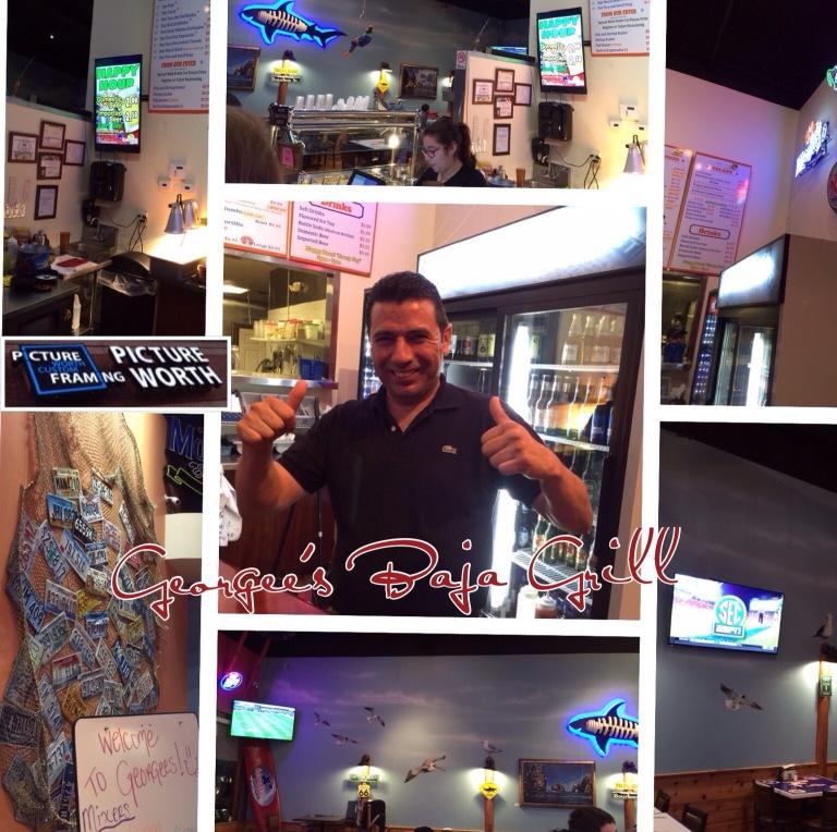 Georgee's Baja Grill, Picture Worth Custom Framing, fish tacos, choco-flan,