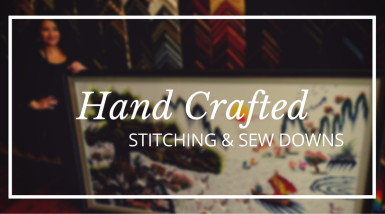 stitching sew downs oversized art custom framing the woodlands texas framing gifts small business