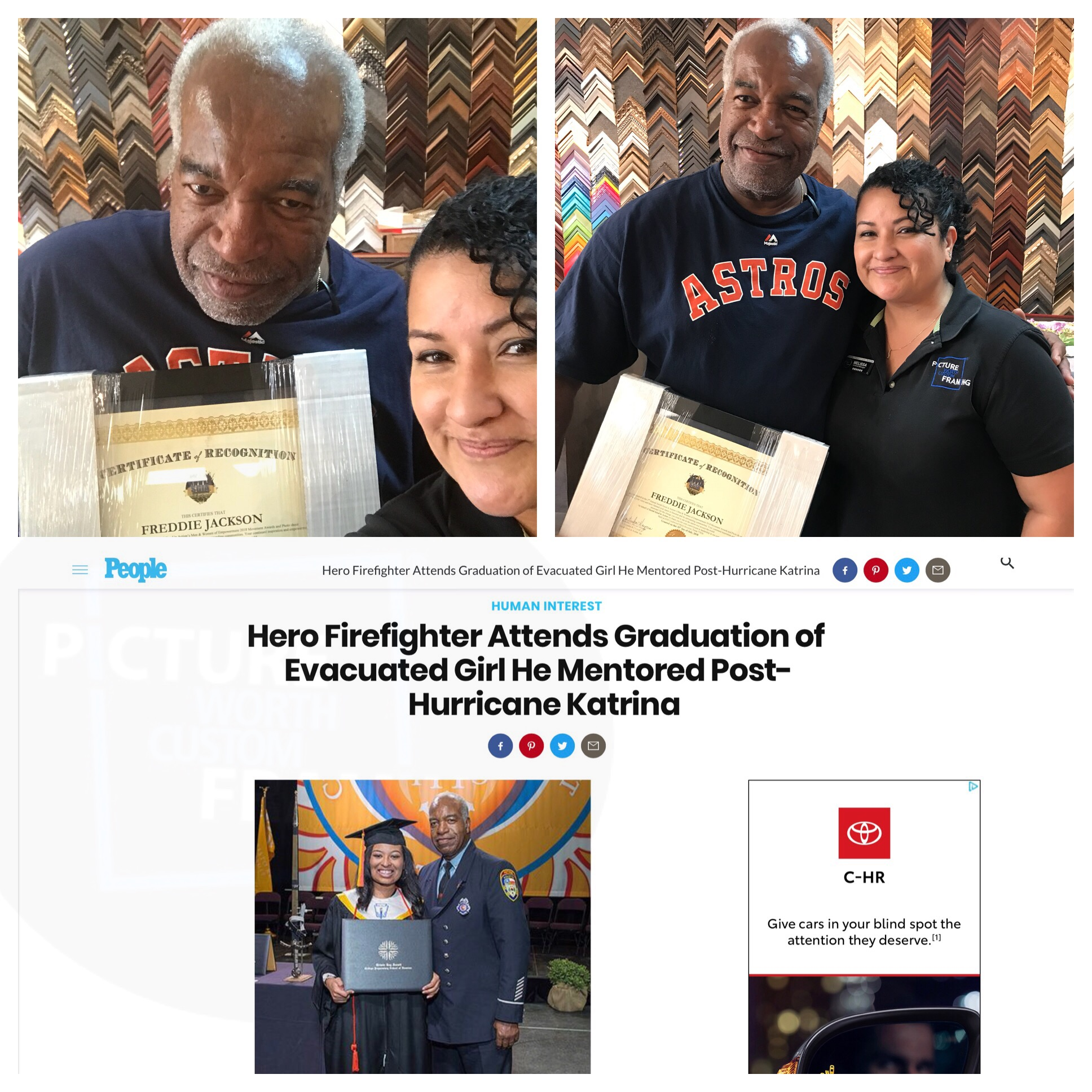 People Magazine, Freddie Jackson, Houston Firefighter, Community leader, Picture Worth Custom Framing, Recognition