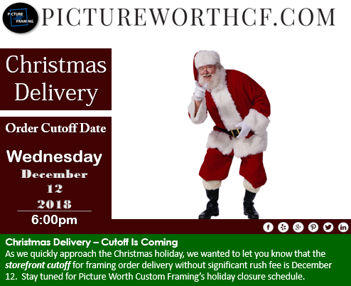 Christmas cutoff at Picture Worth Custom Framing storefront.